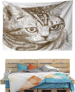 HuaWuChou Portrait of a Kitty Hipster Tapestry DIY, Wall Hanging for Bedroom Living Room Dorm, 59W x 39.3L Inches