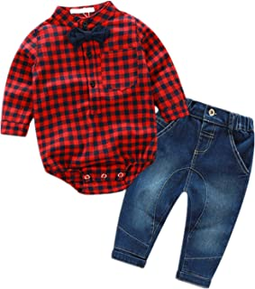 Baby Boy Woven Romper Gentleman Bowtie Plaid Button-Down Long Sleeve Shirt Denim Pants Jumpsuit