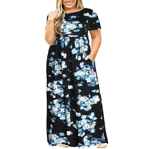e5fd6f1edcb Nemidor Women Short Sleeve Loose Plain Casual Plus Size Long Maxi Dress  with Pockets