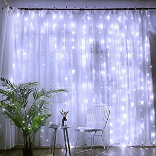 woohaha 304 LED 30V 9W Energy-Saving Linkable Window Curtain String Light with 8-Mode for Patio Party Garden Wedding (304L, Cool White)