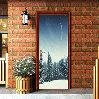 WIGGONJDW Etiqueta de la Puerta Pegatina 3D Nieve Estrellado Mountain Pine Tree Sticker