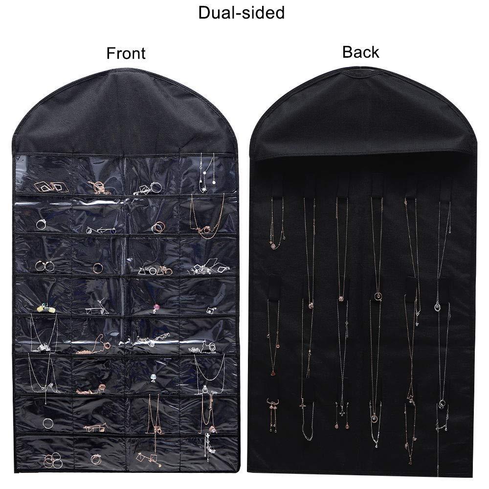 homepa 悬挂式珠宝收纳袋 32 个口袋 18 个挂钩和环,衣柜存储,适用于珠宝、化妆、手镯、耳环、发饰、项链