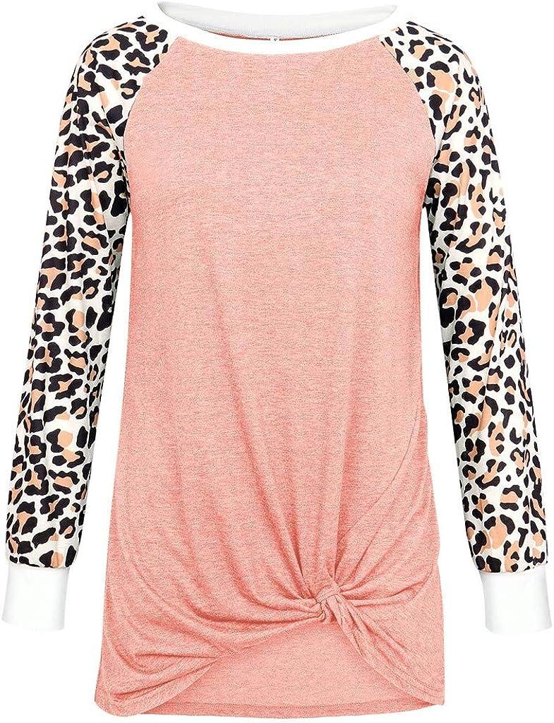 Camisas de Mujeres Blusas de Moda O-Cuello Algodón Leopardo ...