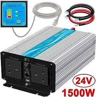 CARRYBATT Pure Sinus Wechselrichter 1500W DC 24V zu AC 240V Wandler mit 5 Meter Fernbedienung mit doppeltem Wechselstromausgang und Spitzenleistung 3000 Watt