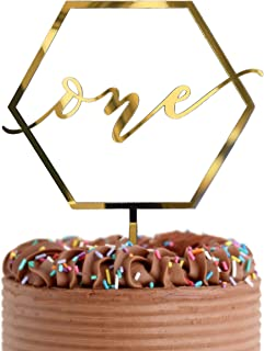 Gold Shiny 1st Birthday Topper - Acrylic Number One Smash Cake Topper Decoration For Baby Shower Photo Booth Props, First ...