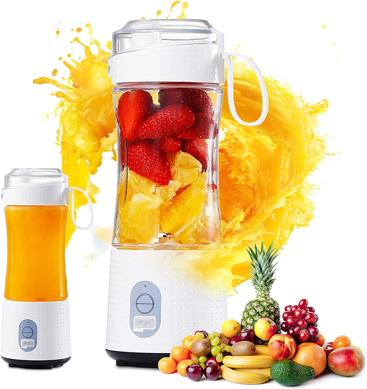 Portable Mini Shakes Smoothies Blender: Personal Size Blender with USB Rechargeable - Single serve Small Fruit Juice Milk Mixer Mini Juicer Cup Maker for Sports Home Travel Office