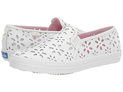 Keds x kate spade new york Double Decker Perf Leather (White/Bright Peony) Women
