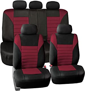 FH Group FB068BURGUNDY115 Universal Car Seat Covers Premium 3D Airmesh Design Airbag and Rear Split Bench Compatible Burgundy
