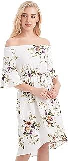 Off Shoulder Trumpet 3/4 Sleeves Irregular Flower Print Short Dress