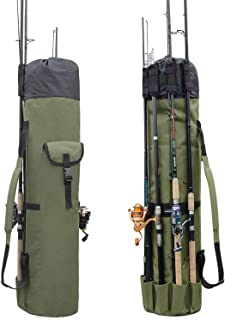 Fishing Bag Fishing Rod Reel Case Carrier Holder Fishing Pole Storage Bags Fishing Gear Organizer Travel Carry Case Bag by...