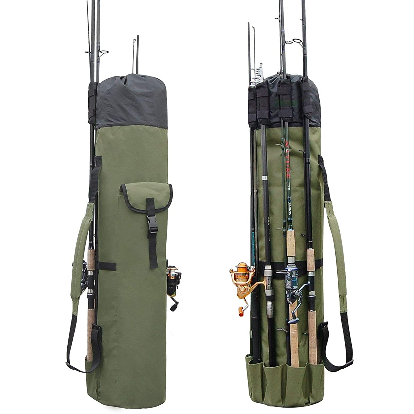 Lixada Premium Fishing Rod Bag   Portable Canvas Fishing Rod&Reel Organizer Bags, Fishing Pole Tools Travel Carry Case - Holds 5 Poles, Tackles&More, Fly Fishing Rod Storage Tubes with Shoulder Strap