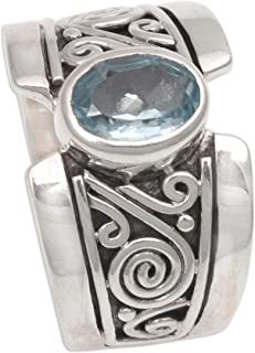 NOVICA Blue Topaz .925 Sterling Silver Artisan Crafted Band Ring, Karma'