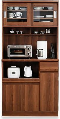 LOWYA ロウヤ キッチン収納 食器棚 レンジ台 スライド扉 B+Aタイプ ハイタイプ ウォルナット