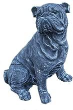 Steinfigur englische Bulldogge sitzend Frostfest Steinguss Hund Dogge Haustier