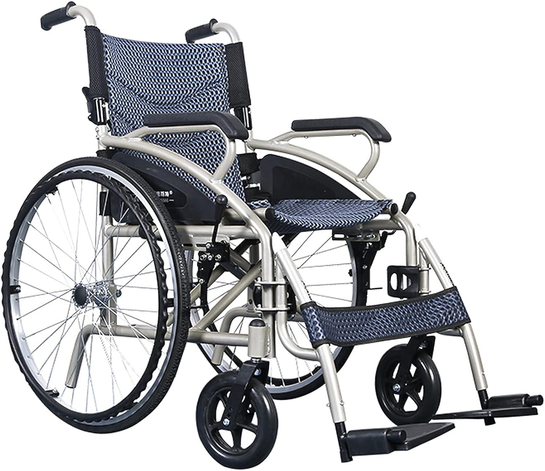 BJH Silla de Ruedas Manual de aleación de Aluminio, Silla de Ruedas para discapacitados con Freno de Mano, Silla de Ruedas Manual Plegable Material de aleación de Aluminio pequeño Freno de Mano