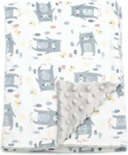 BORITAR Baby Blanket Soft Minky with Double Layer Dotted Backing, Lovely Grey Bear..