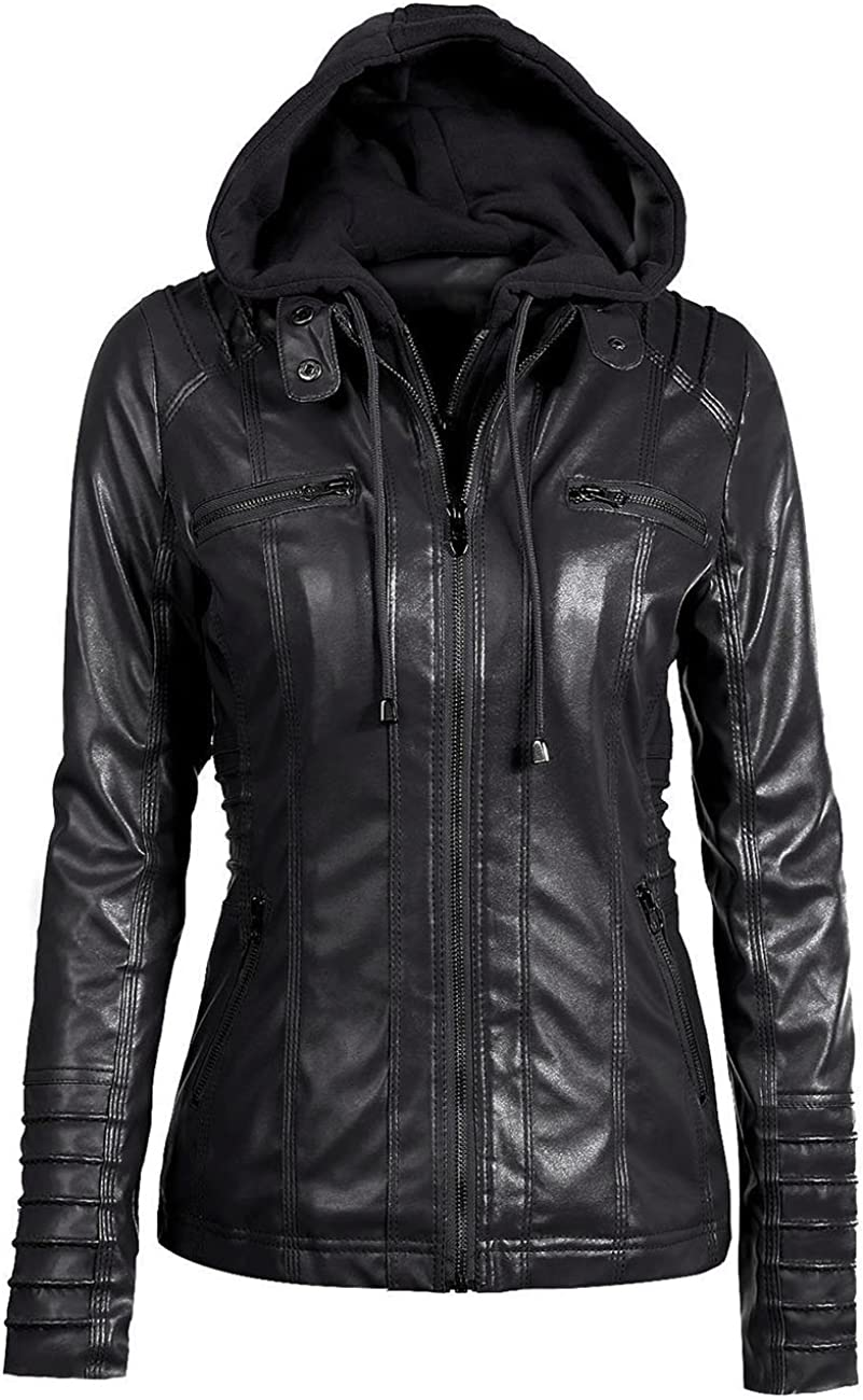 Sexyshine Women's Zipper Up Removable Hooded Faux Leather Jacket Biker Bomber Classic Vintage Winter Overcoat Outwear