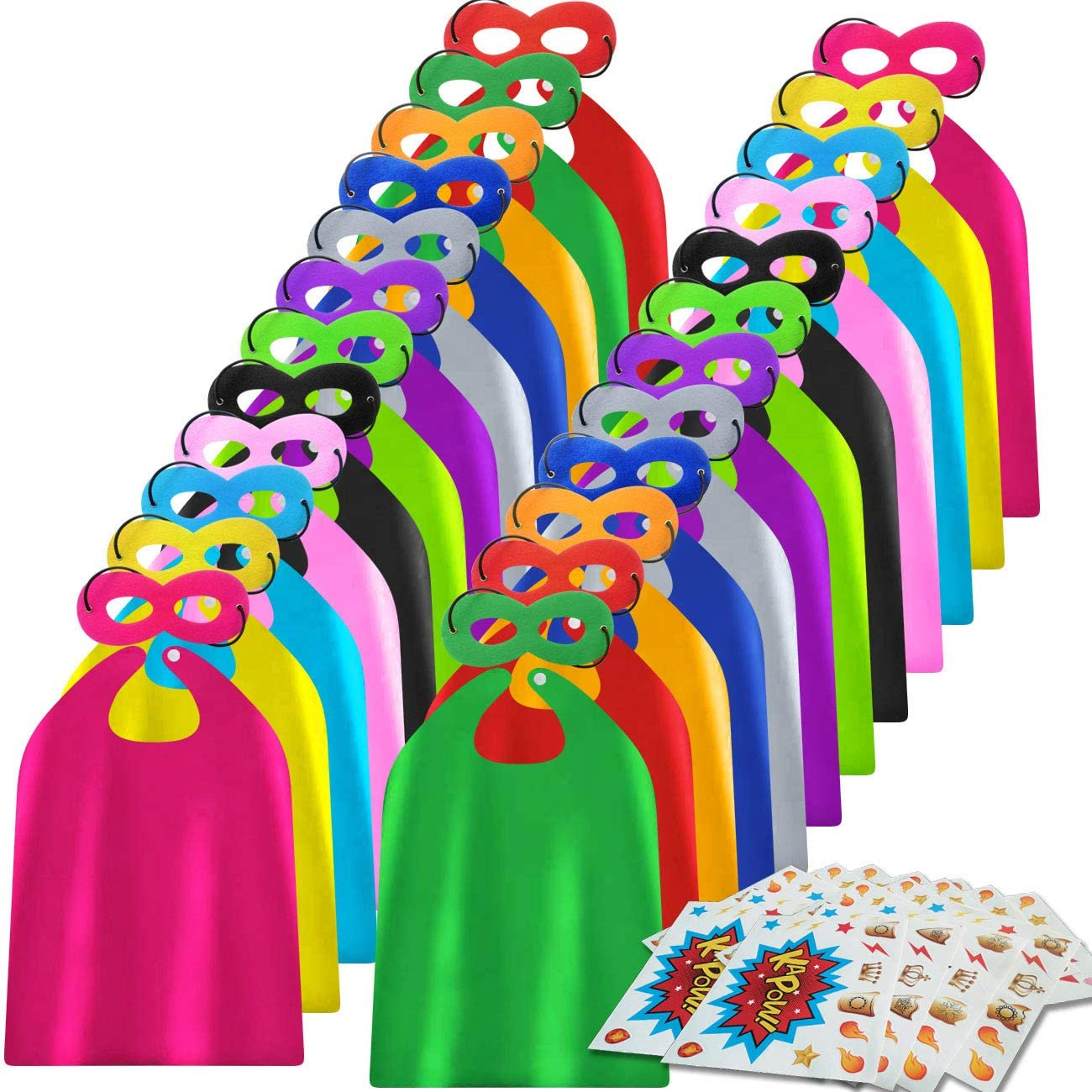 Superhero Indefinitely Capes and Masks 24 Sticke for Beauty products Kids with Sets