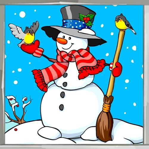 Libro de colorear de muñeco de nieve
