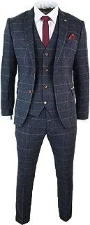 Marc Darcy Mens Navy Blue Wine Check Herringbone Tweed Vintage 3 Piece New Suit Navy 34