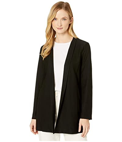 Eileen Fisher Lightweight Washable Stretch Crepe Long Jacket (Black) Women