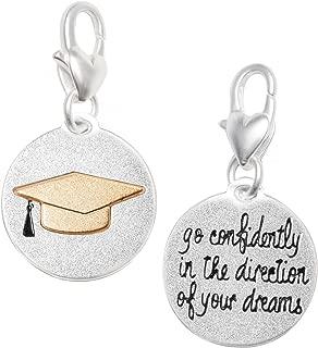 Amanda Blu Graduation Hat Charm Achievement | Go Confidently in The Direction of Your Dreams | Silver 2-Tone Medallion | Women