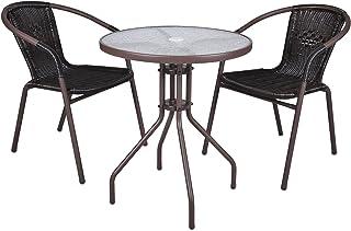 Nexos Trading Table avec plateau en verre et 2 chaises en poly rotin