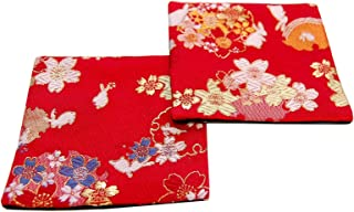 SHINSENDO KIMONO COASTER Japanese traditional fabrics Kinran 2 sheets set (Pattern name: Usagi)