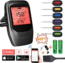VISTION Wireless Meat Thermometer for Grill, Digital Bluetooth Cooking Thermometer with 6 Probes & Brush, Instant Read BBQ Alarm Meat Thermometers for Kitchen Oven Smoker, Battery Included