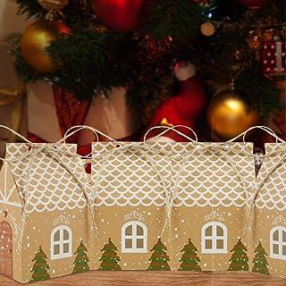 Your's Bath 50 stuks kerst kraftpapier snoepdozen, kerstfeest geschenkdozen met henneptouw kerstfeest gunstdozen voor fees...
