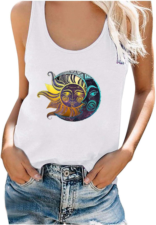 Tank Top for Women,Fashion Women's Summer Sun Moon Series Print O Neck Sleeveless Casual T-Shirt Top Tank