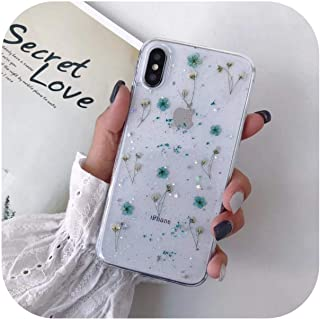 KANLX リアルドライフラワーグリッタークリアケースfor iPhone 8 7 Plus 6 6sエポキシスター透明ケースfor iPhone X XR 11 Pro XS MAXソフトカバー-Blue Floral-for iPhone ...