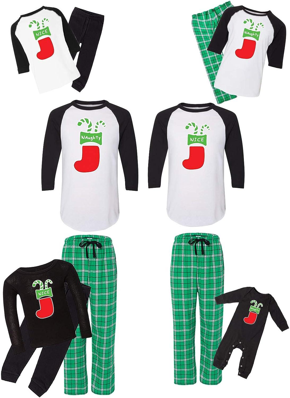 Awkward Styles Matching Christmas Pajamas Set Green Nice Naughty Stocking Pocket Family Sleepwear Men PJ Set S