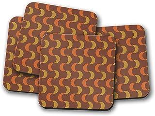 Posavasos de diseño retro marrón y naranja, posavasos individuales o juego de 4