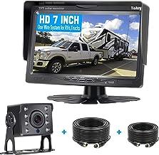 دوربین پشتیبان iStrong HD 720P پشتیبان سیستم 7 '' سیستم کیت مانیتور برای اتومبیل / کامیون / تریلر / کمپرسی / چرخ های پنجم IP69K ضد آب در دید در شب عقب / نمای جلو راهنمای مشاهده سیستم با سرعت بالا خطوط روشن / خاموش
