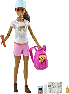 Barbie Hiking Doll, Brunette, with Puppy & 9 Accessories,...