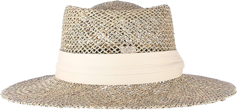 Women's Seagrass Fedora Sun Hat Summer Wide Brim Porkpie Style Boater Straw Beach Hat Derby Sun Hat with Band