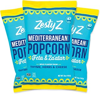 Zesty Z Feta Cheese Mediterranean Popcorn Snack – Air Popped   Non GMO   Gluten-Free   Kosher   Low Calorie Snack (47 Cal/Cup), 5oz Bag, 3-Pack