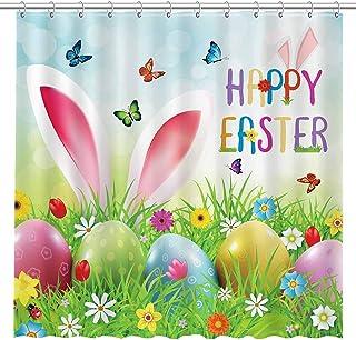 Details about  /Easter Rabbit Eggs Tulip Rustic Wood Planks Shower Curtain Set Bathroom Decor LB