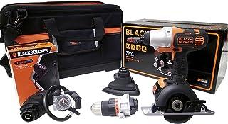 ブラックアンドデッカー マルチツール 18V EVO183P1-JPBI インパクトドライバー・ドリルドライバー・丸ノコ・サンダー・エアインフレーターのヘッドアタッチメント、専用収納バッグ付き