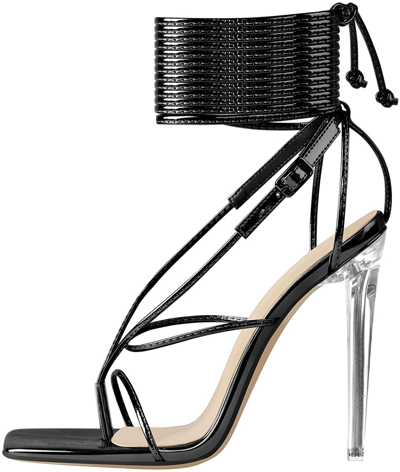 LISHAN Women's Surprise price OFFicial mail order Clear High Heels Split Sandals Gladiator Toe
