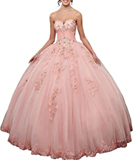 Pink Ball Gown Quinceanera Dresses 2019 Sweetheart Appliques Tulle Princess Prom Party Gowns