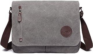Kono Leinwand Laptop Messenger Taschen 13,5 Zoll Canvas Satchel Messenger Schultertasche Umhängetaschen für Herren Arbeits-Laptoptasche Grau