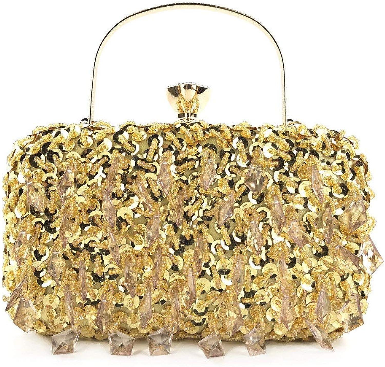 DASEXY Stilvolle Einfachheit Abend handgemachte handgemachte handgemachte handgemachte doppelseitige Besteickte Perlen Tasche Pailletten Damen Handtasche Damentasche, Handtasche (Farbe   Gold) B07PC3JFM6  Bestellungen sind willkommen 26dac1