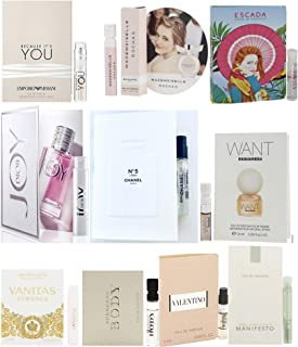 10 Women's Designer Fragrance Vial Sample with C.H.A.N.E.L. No.5 (Chanell No 5 L'EAU)