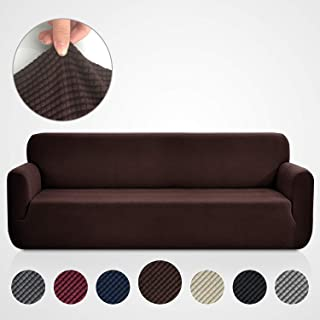 Rose Home Fashion RHF Jacquard-Stretch Sofa Cover, Slipcover for Leather Couch-Polyester Spandex Sofa Slipcover&Couch Cover for Dogs, 1-Piece Sofa Protector(Extra-Wide Sofa: Chocolate)