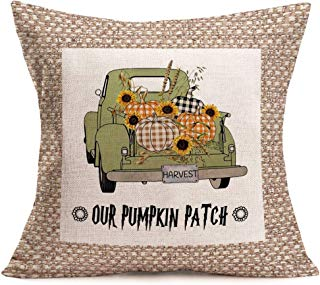 Smilyard Truck with Plaid Pumpkin Pillow Cover 18x18 Inch Harvest Pumpkin Patch Quote Pillow Case Square Cushion Cover Cotton Linen Fall Sunflower Decor Home Sofa Pillows Covers (BT 13)
