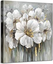 Wall Art Botanical Pictures Painting: White Lily Bouquet of Flowers Oil Painting Floral Artwork on Wrapped Canvas for Walls