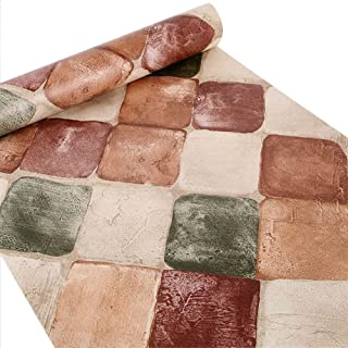 Peel and Stick Wallpaper, Self-Adhesive Modern Faux Brick Stone Textured Wallpaper Roll Multi Color Blocks for Office Living Room Kitchen Decoration 17.7