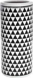 Sagebrook Home Ceramic Umbrella Stand, White/Black, 6.25x6.25x16